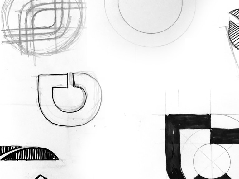 The creation of ted&gustaf logotype, an illustration of drawings
