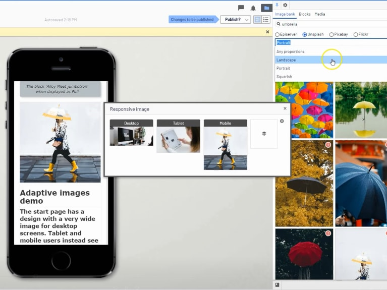 Adaptive images app, showing how to use the tool