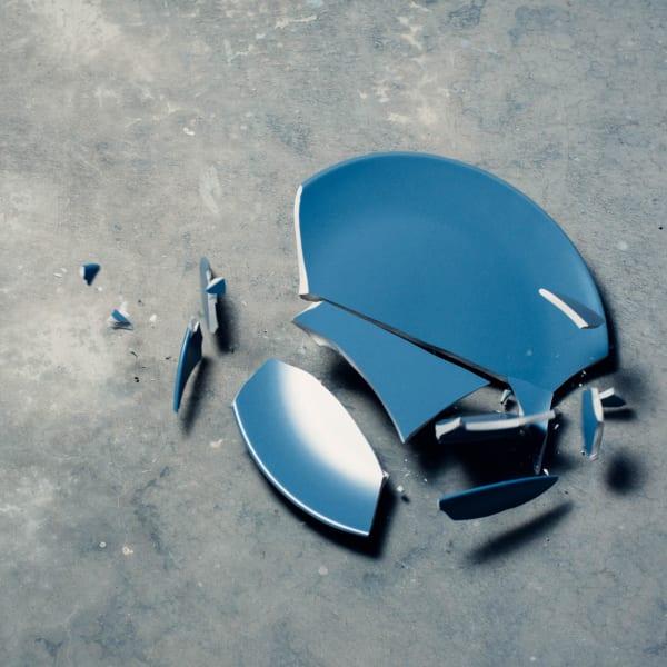 Blue broken plate