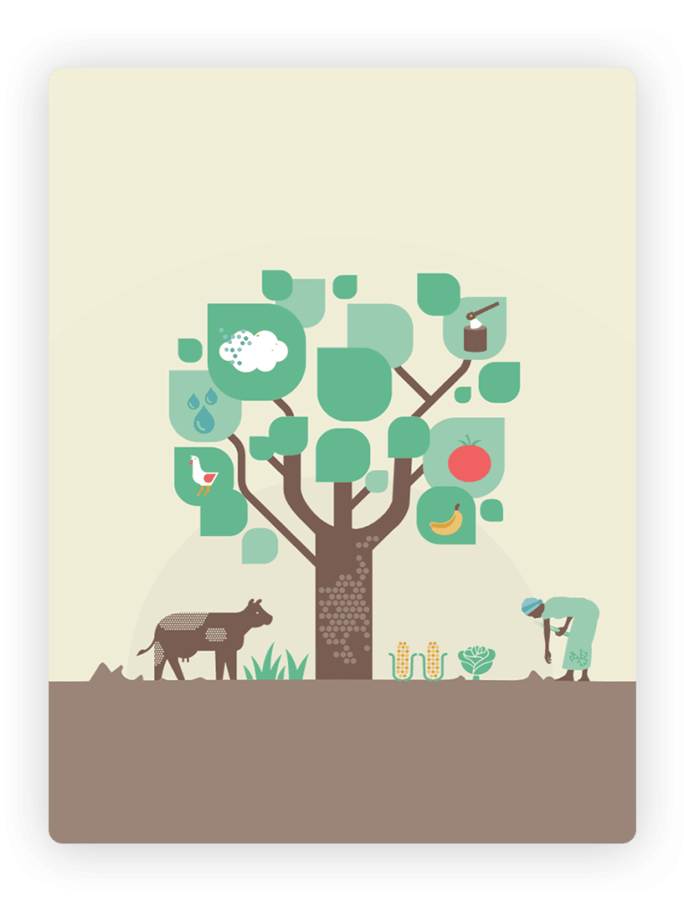 Illustration showing a tree with a cow and a human underneath