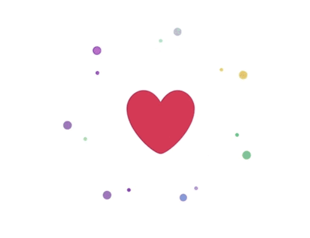 Animation of a heart symbol when liking a tweet