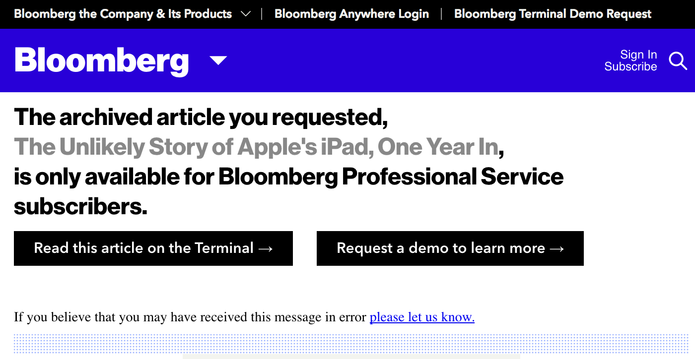 Bloomberg paywall