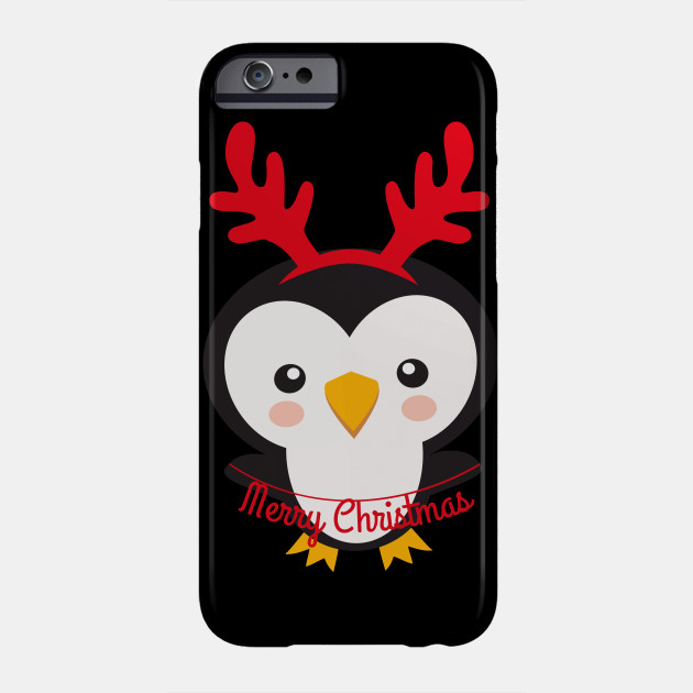 Christmas Penguins Merry Christmas Penguin Wearing Reindeer Antlers Phone Case