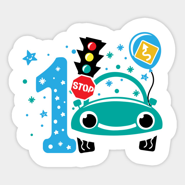 First 1 Birthday Toddler Boy Son Nephew Cars Cute Sweet One Year Old Mug Sticker