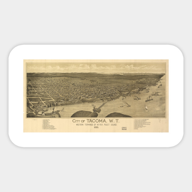 Vintage Pictorial Map of Tacoma Washington (1885) - Tacoma Map ... on redding washington map, tacoma zip code boundaries, fort lewis washington map, lakewood washington map, downtown kent washington map, madison washington map, walla walla washington map, yakima washington on a map, port angeles washington map, gig harbor washington map, tillamook washington map, columbia river washington map, forks washington map, seattle washington map, virginia washington map, tacoma wa, washington dc map, kahlotus washington map, east bellevue washington map, everett washington map,