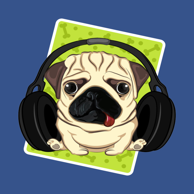 pug with phones
