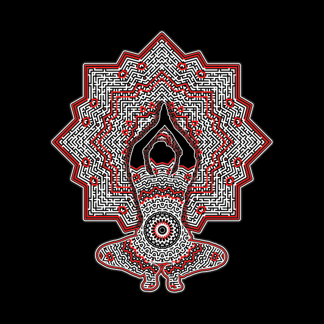 Yoga Pose In Red And Black Against Geometric Pattern