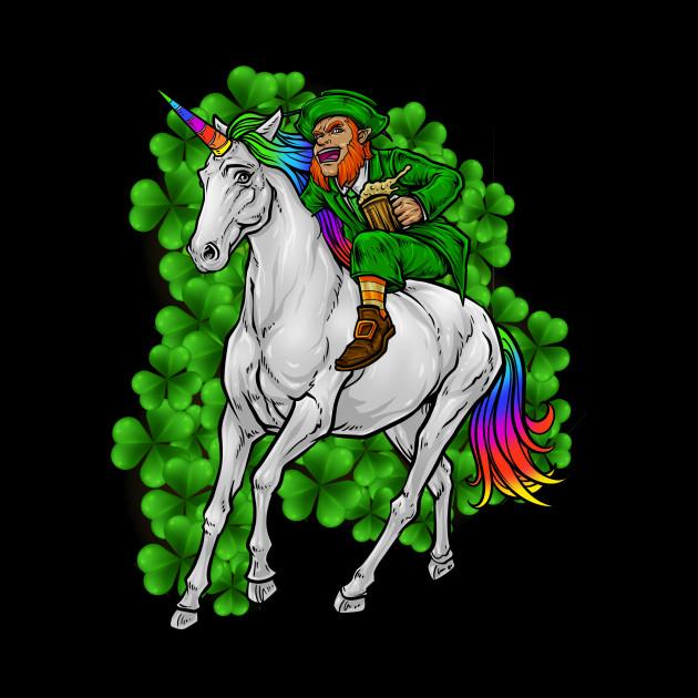 Leprechaun Rides Unicorn Happy St Patrick S Day Funny St Pattys