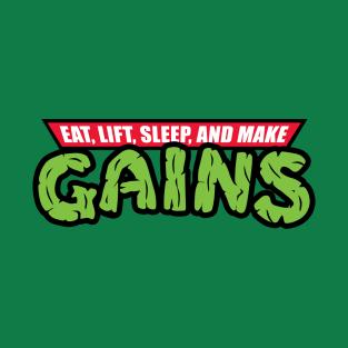 Eat, Lift, Sleep, And Make Ninja GAINS Gym t-shirts