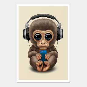 cute baby monkey with cell phone wearing headphones posters and art