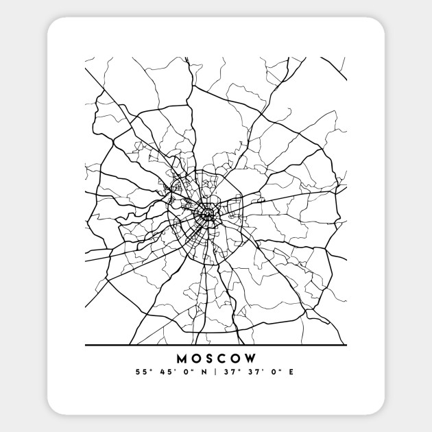 MOSCOW RUSSIA BLACK CITY STREET MAP ART