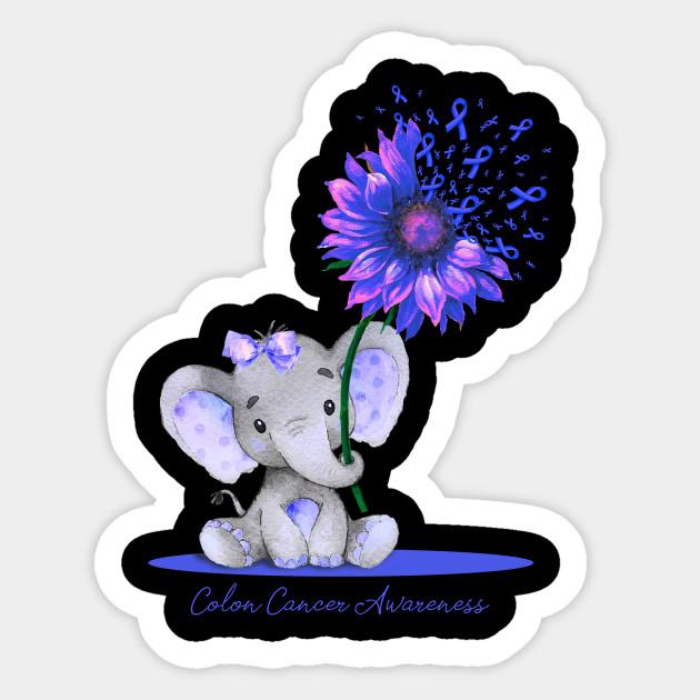 Colon Cancer Awareness Cute Elephant Sunflower Blue Ribbon Gift Support Colon Cancer Survivor 2a Sticker Teepublic
