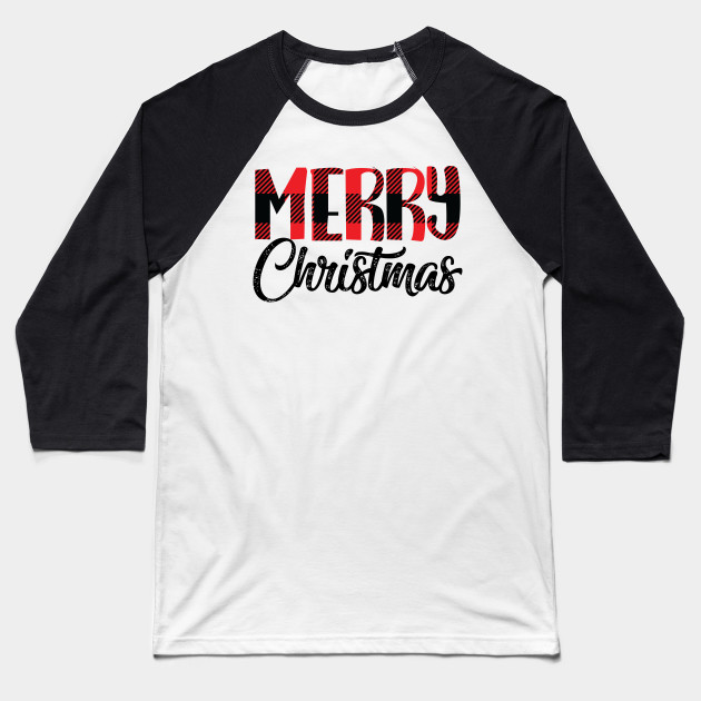 Buffalo Plaid Merry Christmas Baseball T-Shirt