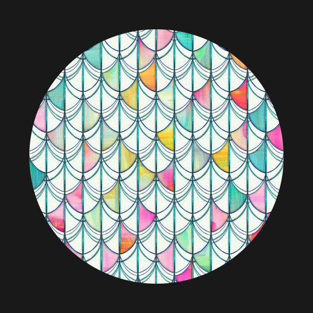 Pencil & Paint Fish Scale Cutout Pattern - white, teal, yellow & pink