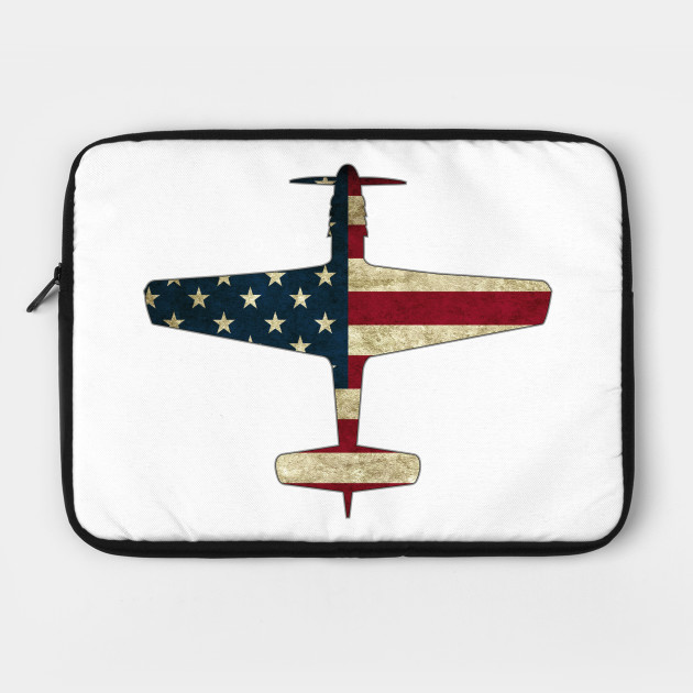 Patriotic Veteran P 51 Mustang Fighter Warbird Plane US Flag