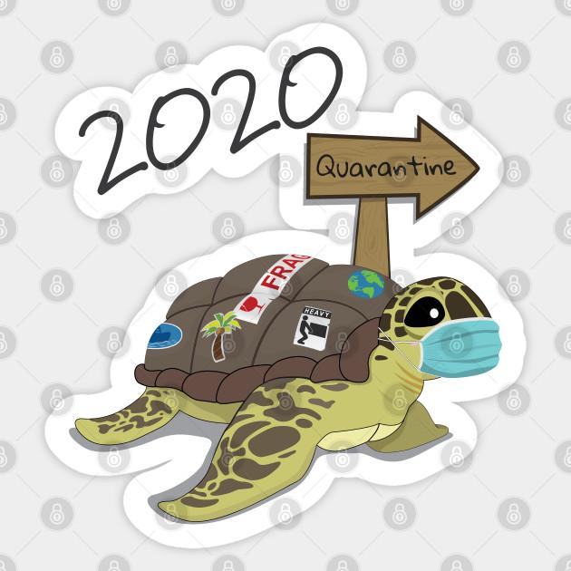 2020 Quarantine Sea Turtle With Face Mask 2020 Sticker