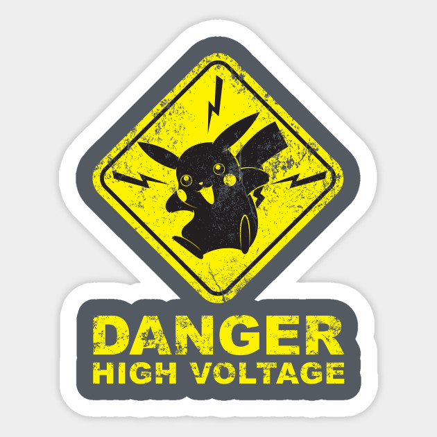 Pokemon Danger High Voltage Pikachu Sticker Teepublic