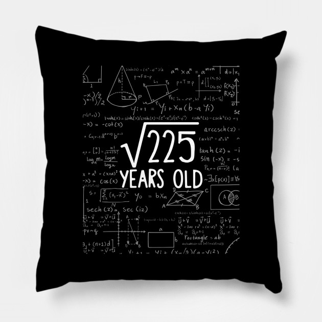 Square Root Of 225 15th Birthday 15 Years Old T Shirt Sq Pillow Teepublic Square root is defined as what number times itself equals the given number. since 15*15 = 225, the square root of 225 is 15. square root of 225 15th birthday 15 years old t shirt