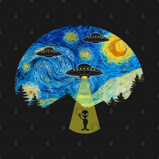 Starry Night UFO Alien - Funny