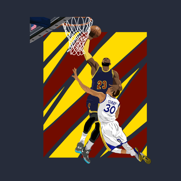 LeBron James dunk over Stephen Curry