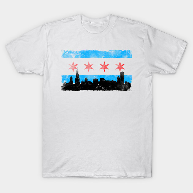 Chicago Flag Distressed Chicago Skyline T Shirt Teepublic
