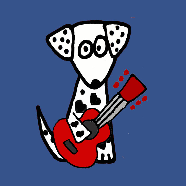Funny Spotted Dog Playing Guitar Art