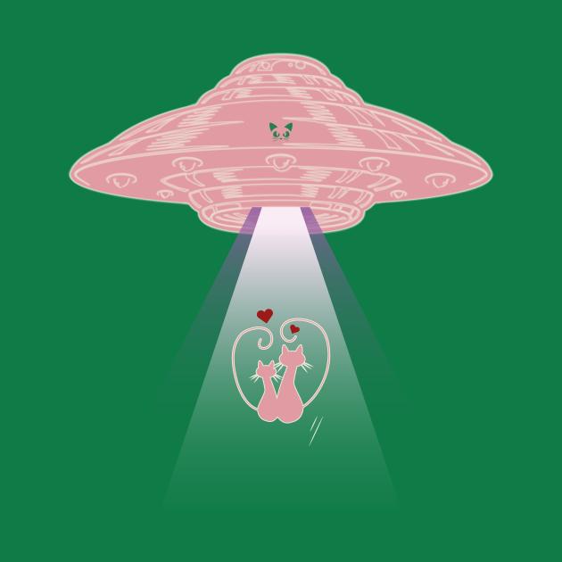 Cats In Love Alien UFO Abduction