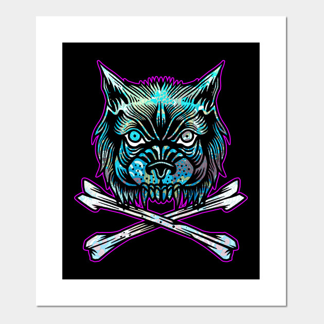 2ea5bc1446f3a Wolf and Crossbones Vintage Tattoo Flash American Traditional ...