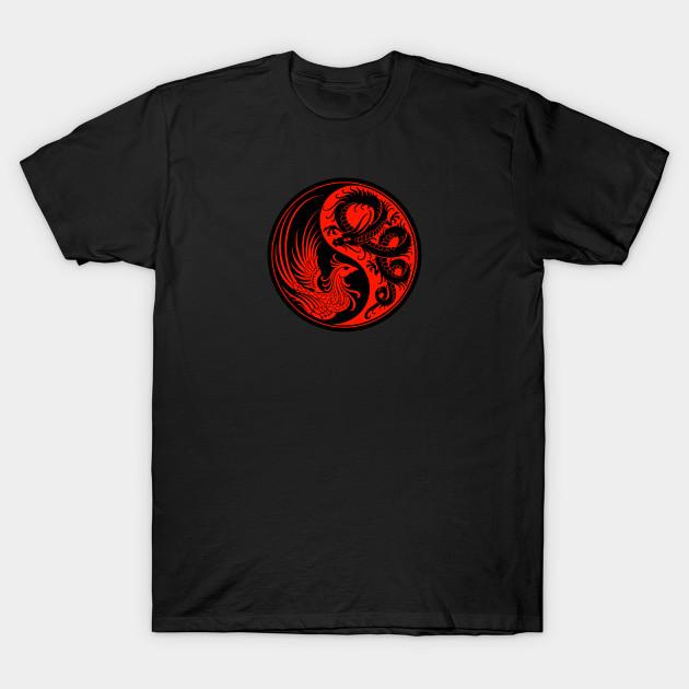 2da12da4 Red and Black Dragon Phoenix Yin Yang - Dragon - T-Shirt | TeePublic