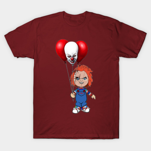 Chucky with Stephen Kings IT Funny Horror Collage T-Shirt-TOZ