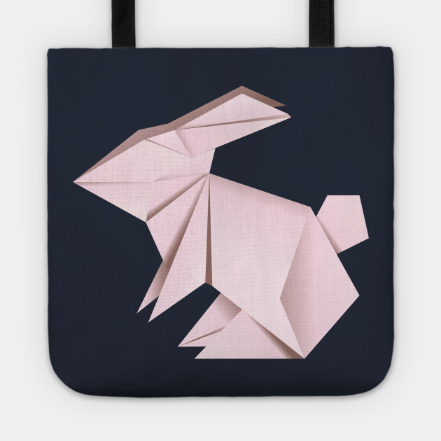Long Handle Bag Beach Bag Gift Tote Bag Back To School Personalised Cotton Shopper Shopping Bag Origami Rabbit Vegan Tote Bag