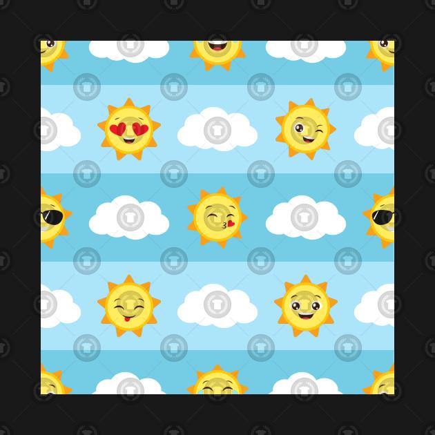 Seamless Clouds Pattern With Sun Emojis