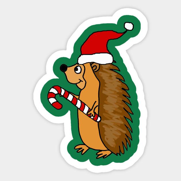 7f67708246886 Cute Hedgehog with Santa Hat Christmas Cartoon - Christmas - Sticker ...