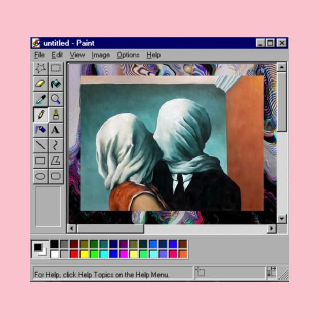 Rene Magritte Vaporwave Microsoft paint