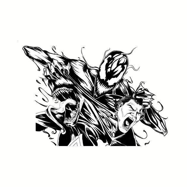 Venom And Carnage Inktober Drawing Venom Baseball T Shirt