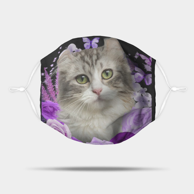 American Curl Cat Purple Face Mask
