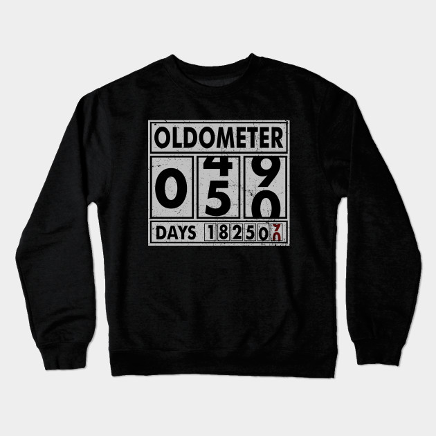 f96d2096 OLDOMETER 50 Years Old Made In 1968 50th Birthday Crewneck Sweatshirt