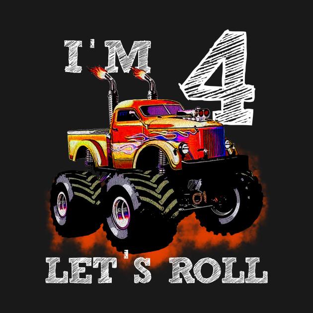 Monster Truck Tee I'M 4 READY TO CRUSH Shirt 4nd Birthday