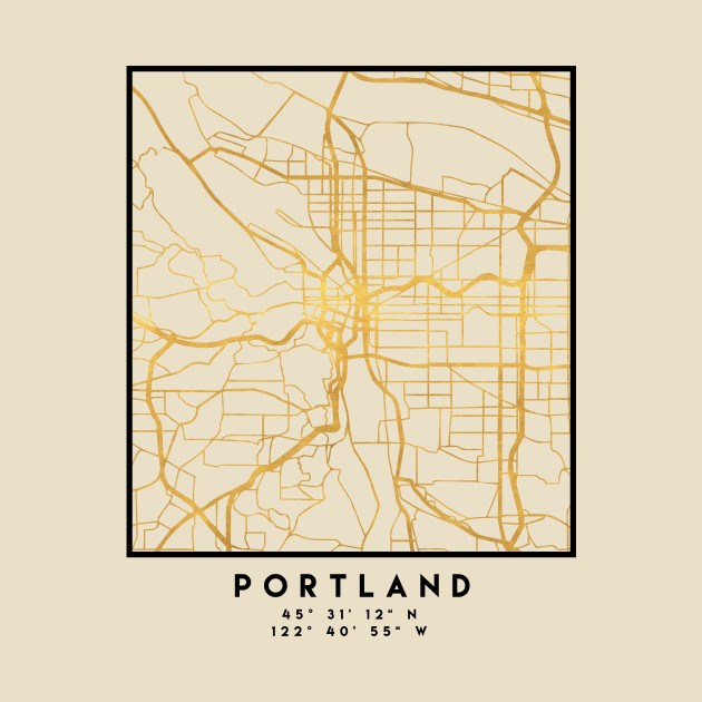 PORTLAND OREGON CITY STREET MAP ART - Portland - T-Shirt | TeePublic