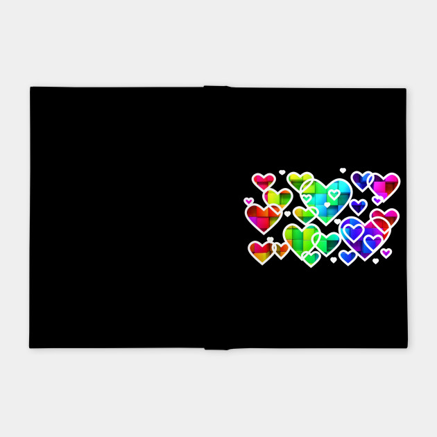 Rainbow hearts white