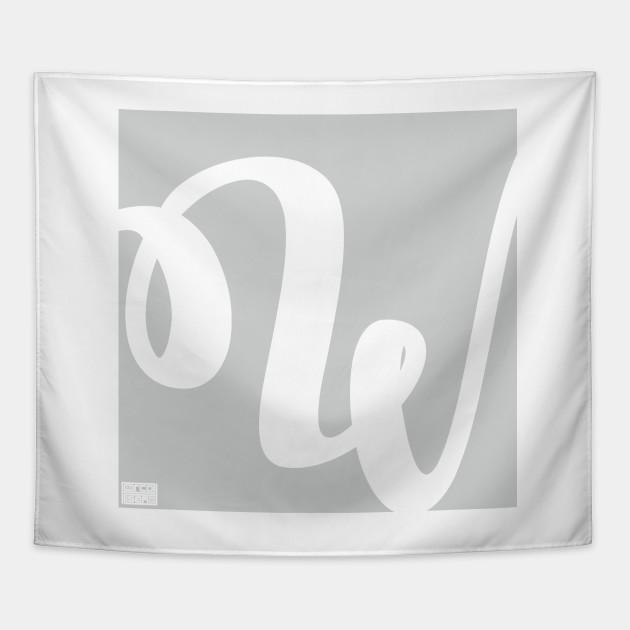 Letter W Elegant Cursive Calligraphy Initial Monogram