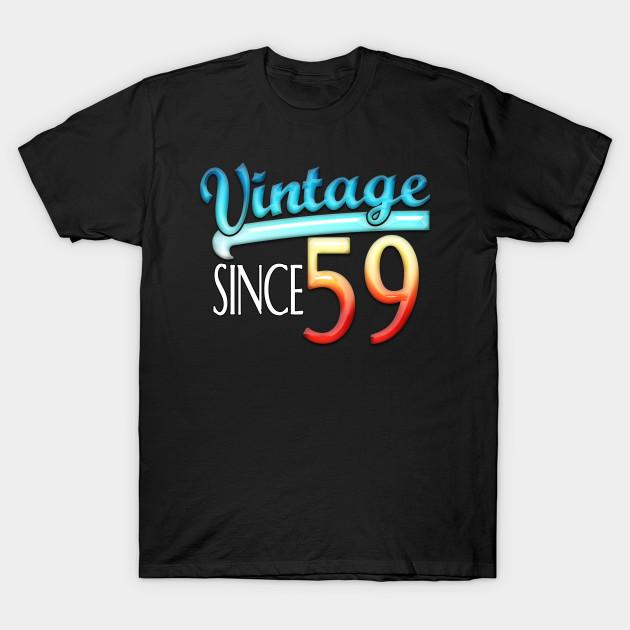 Vintage Since 59 60th Birthday Retro Baseball Inspired Design T Shirt