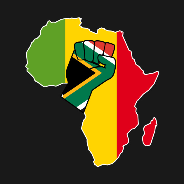 South Africa Flag In Africa Map.South African Pride South Africa Flag Africa Map Raised Fist