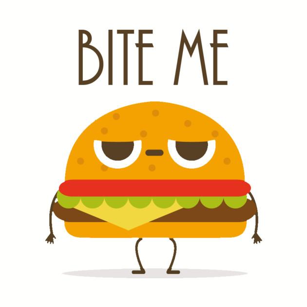 Bite Me Annoyed Cartoon Cheeseburger Character