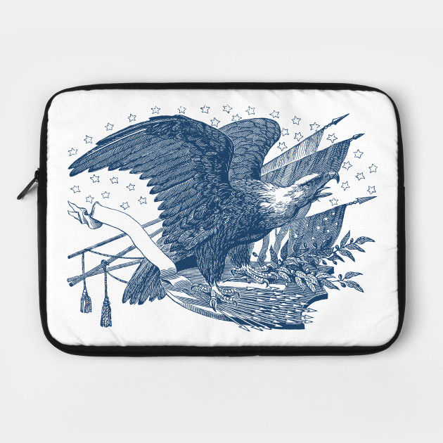 Screaming Bald Eagle on USA Shield Arrows and Olive Branches Laptop Case