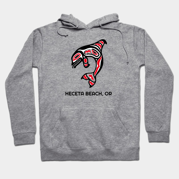 Heceta Beach, Oregon Red Orca Killer Whales Native American Indian Tribal Gift Hoodie