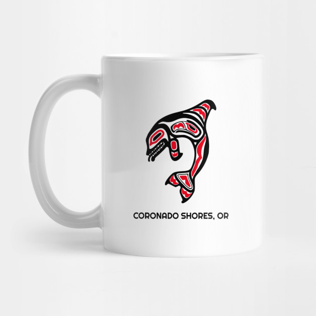 Coronado Shores, Oregon Red Orca Killer Whales Native American Indian Tribal Gift Mug