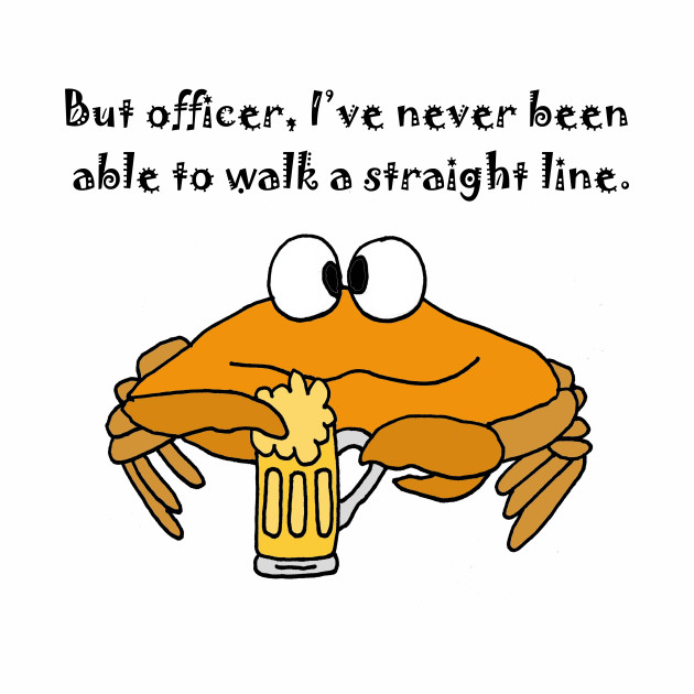 Funny Cute Crab Drinking Beer