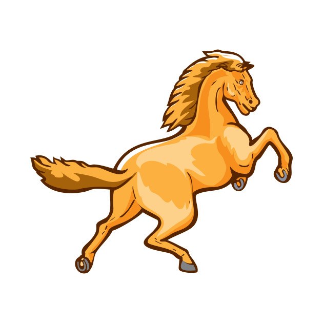 Colt Horse Prancing Rear Isolated Retro