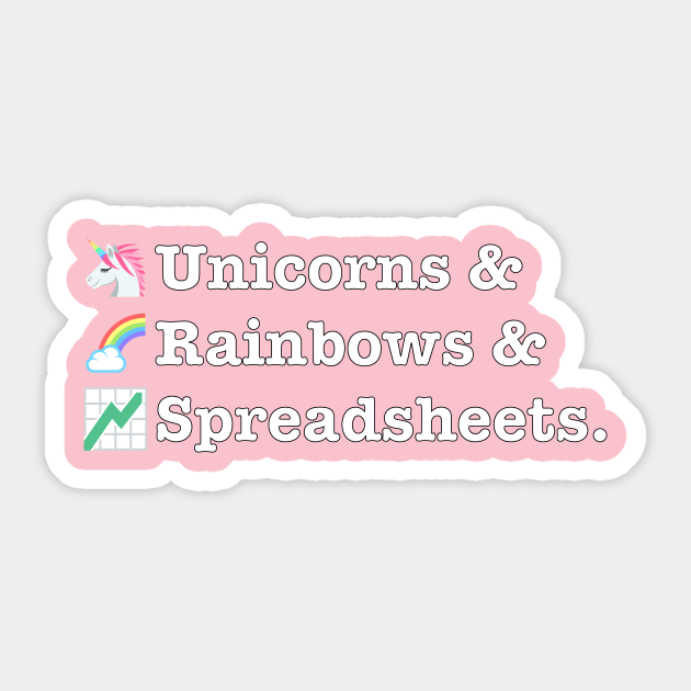 Funny Excel/Spreadsheet: Unicorns, Rainbows